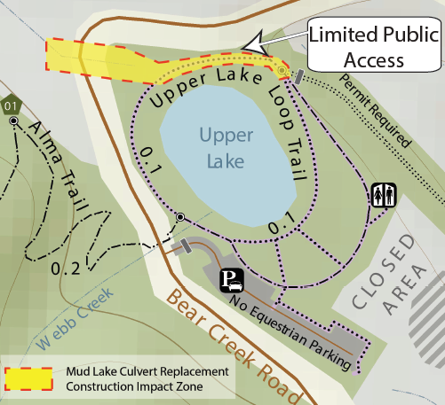Upper Lake Loop Trail area affected by construction.