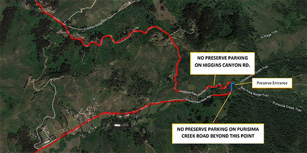 Roadside parking restrictions in place along Purisima Creek Road and Higgins Road.