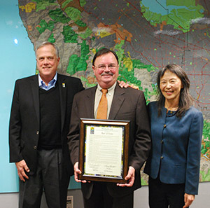 General Manager Steve Abbors, Assemblymember Rich Gordon, and Board President Yoriko Kishimoto