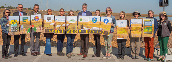 Ravenswood Bay Trail partners and grant funders gathered to kickoff construction.