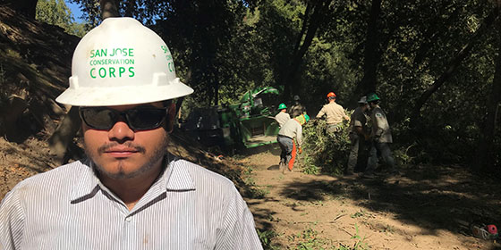 Crew from San Jose Conservation Corps assisting with defensible space projects. © Leigh Ann Gessner