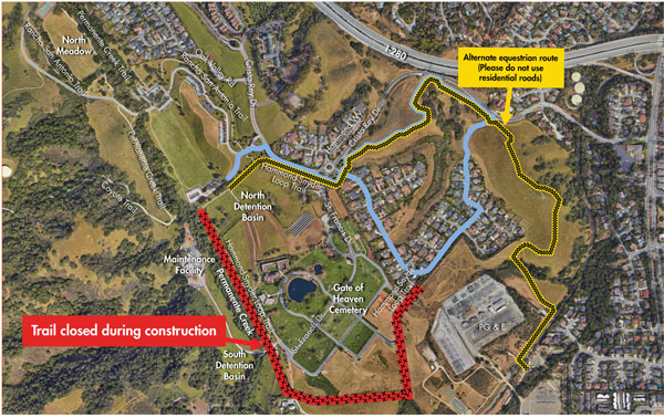 A portion of the Hammond-Snyder trail is closed during SCVWD construction.