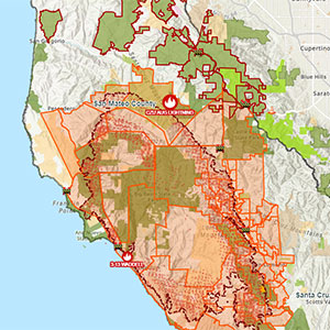 a map showing fire area and evacuation zones