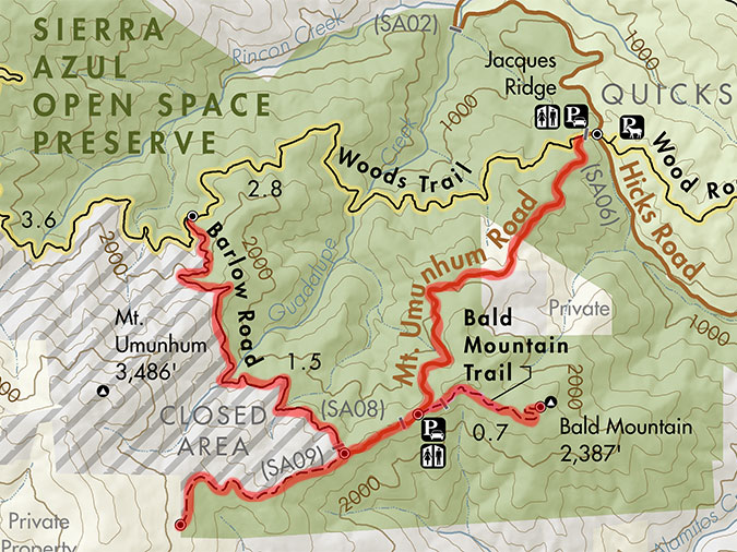Mount Umunhum Trail and Road Closures highlighted in red
