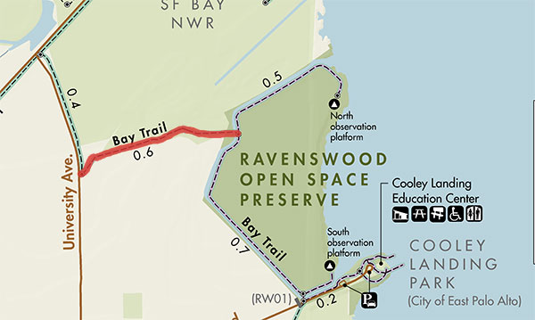 map with highlighted section of new San Francisco Bay Trail