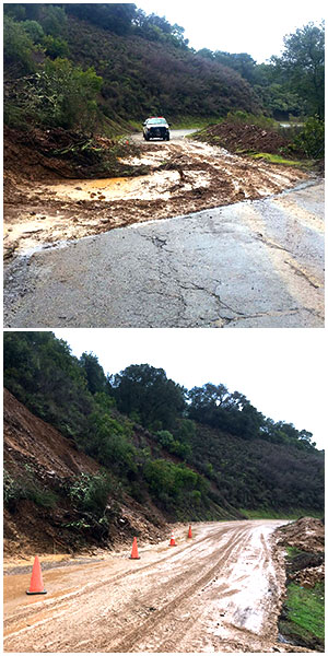Mount Umunhum before and after storm repair
